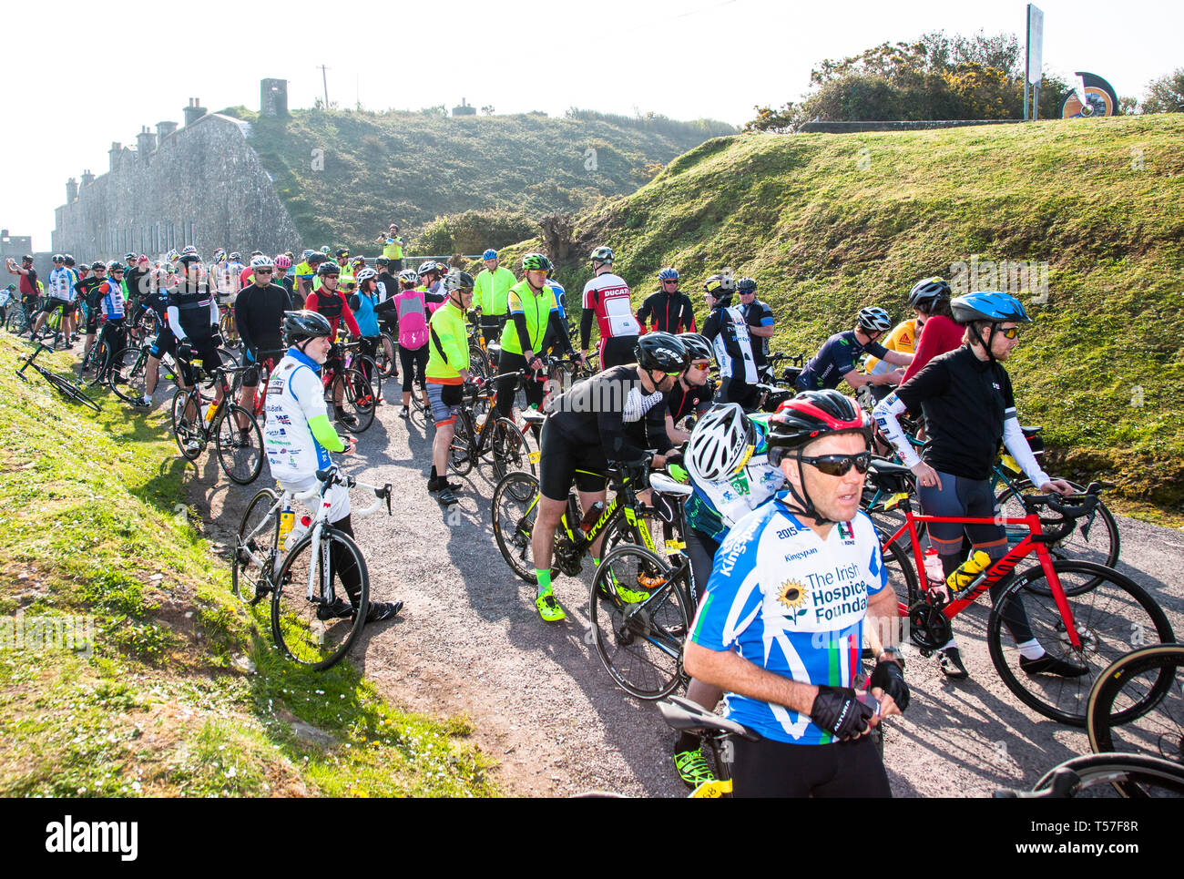 Crosshaven, County Cork, Ireland. 22nd April, 2019. /Cyclists preparing to set off on the Fort 2 Fort Charity Cycle at Camden Fort Meagher Crosshaven Co. Cork. The cycle is to help raise funds for the Mercy University Hospital Foundation, four Cork City and County Lions Clubs, and Camden Fort Meagher Restoration. Credit: David Creedon/Alamy Live News Stock Photo