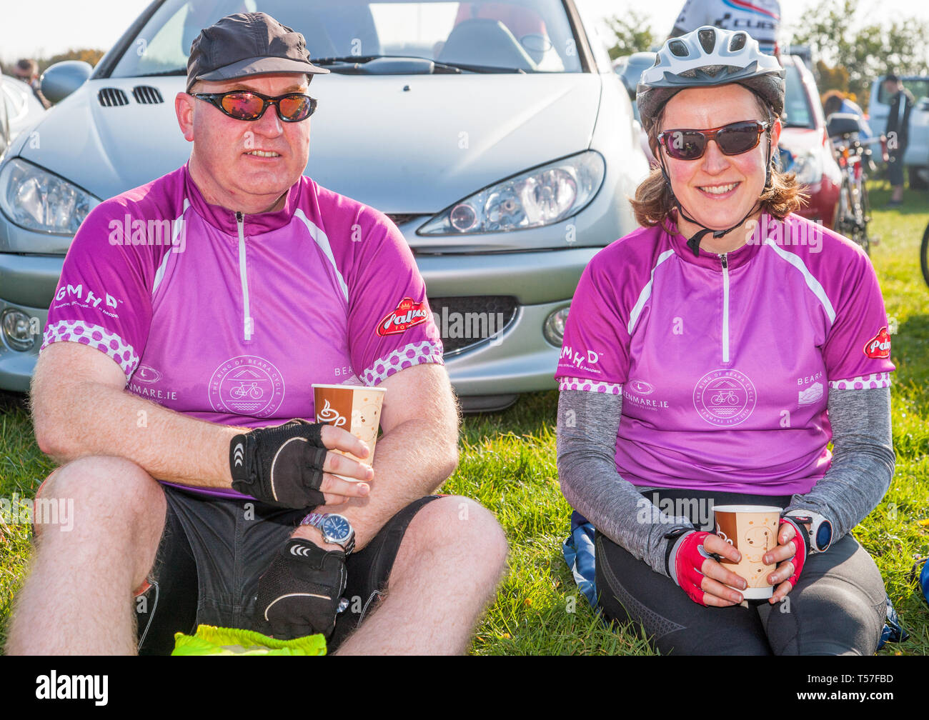 Crosshaven, County Cork, Ireland. 22nd April, 2019. /Michael Carrington, Cork City and Mary Gurrie, Dublin at the starting line of the Fort 2 Fort Charity Cycle at Camden Fort Meagher Crosshaven Co. Cork. The cycle is to help raise funds for the Mercy University Hospital Foundation, four Cork City and County Lions Clubs, and Camden Fort Meagher Restoration. Credit: David Creedon/Alamy Live News Stock Photo
