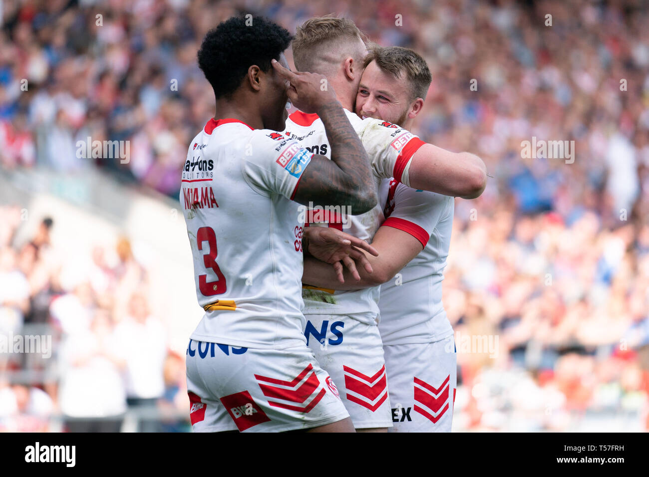St Helens, UK  22nd Apr, 2019  St  Helens's Adam Swift celebrates
