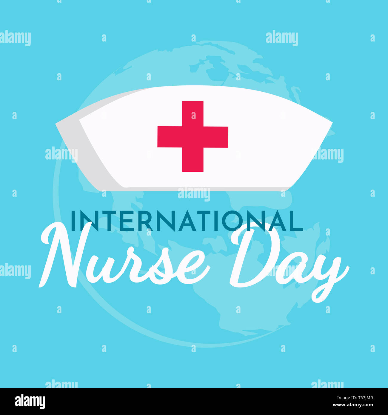 International Nurse day text background ,greeting card ,poster or banner - Stock Image