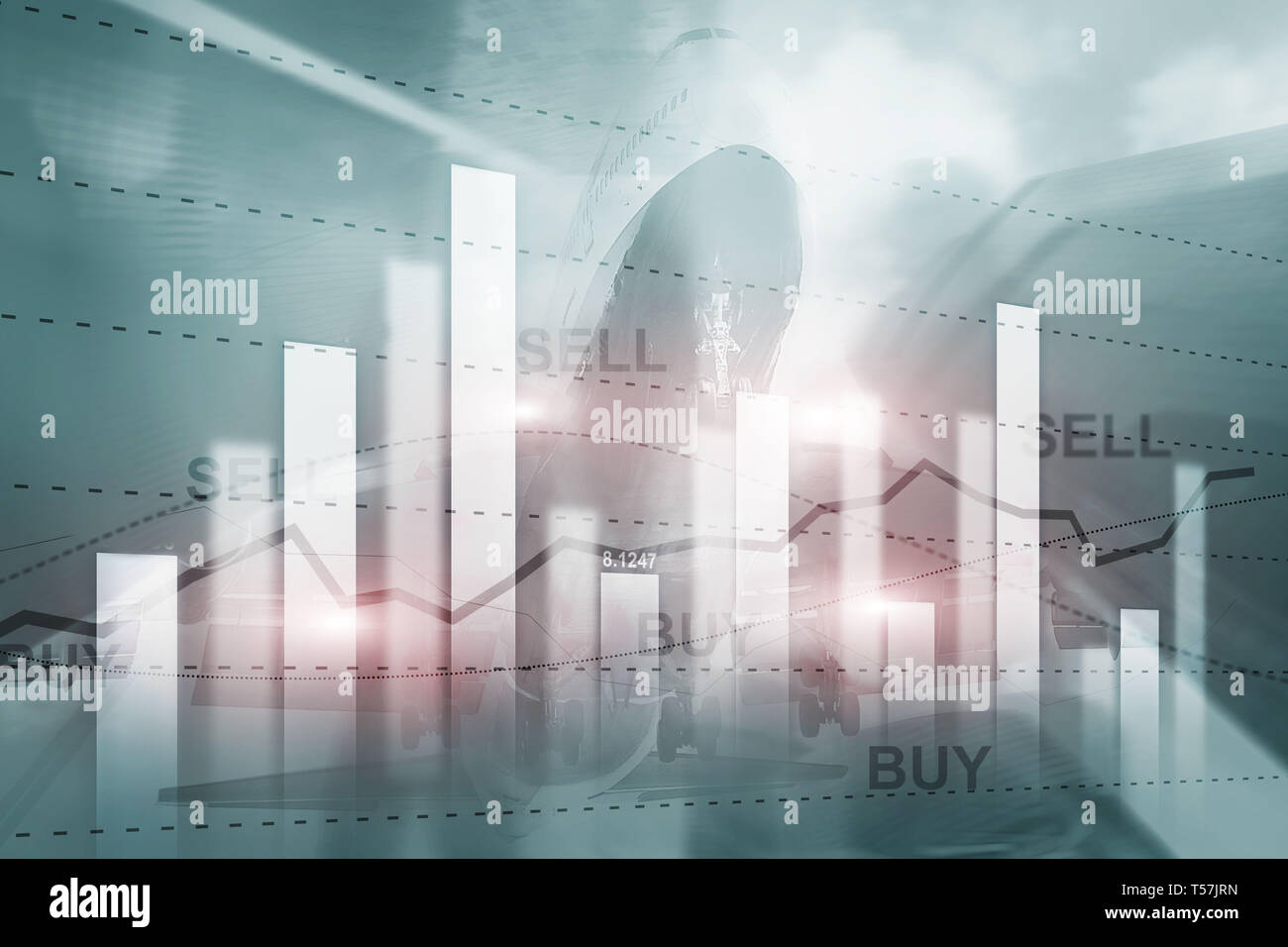Financial stock trading graph chart diagram business finance concept double exposure mixed media. Stock Photo