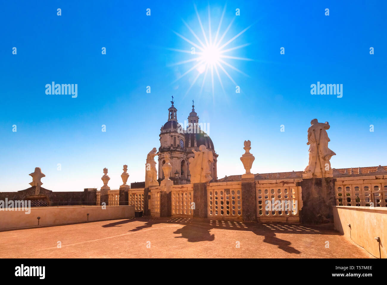 Domes of Catania Cathedral, Sicily, Italy - Stock Image