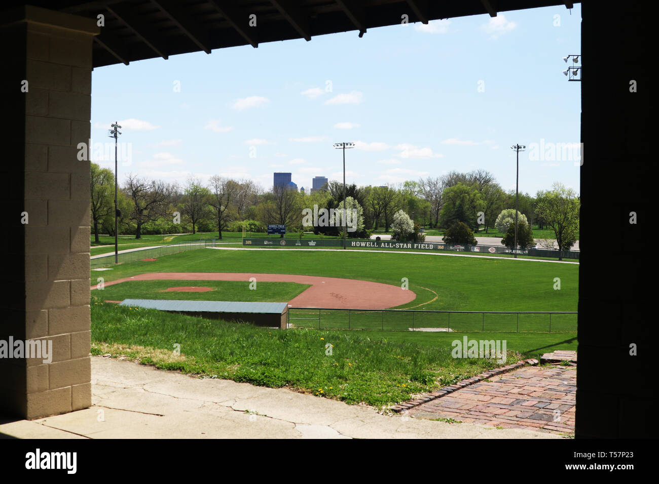 Howell Field (baseball). The site of the first NFL Football game is now the Howell Baseball Field in Triangle Park, Dayton, Ohio, USA. Ohio Historical - Stock Image