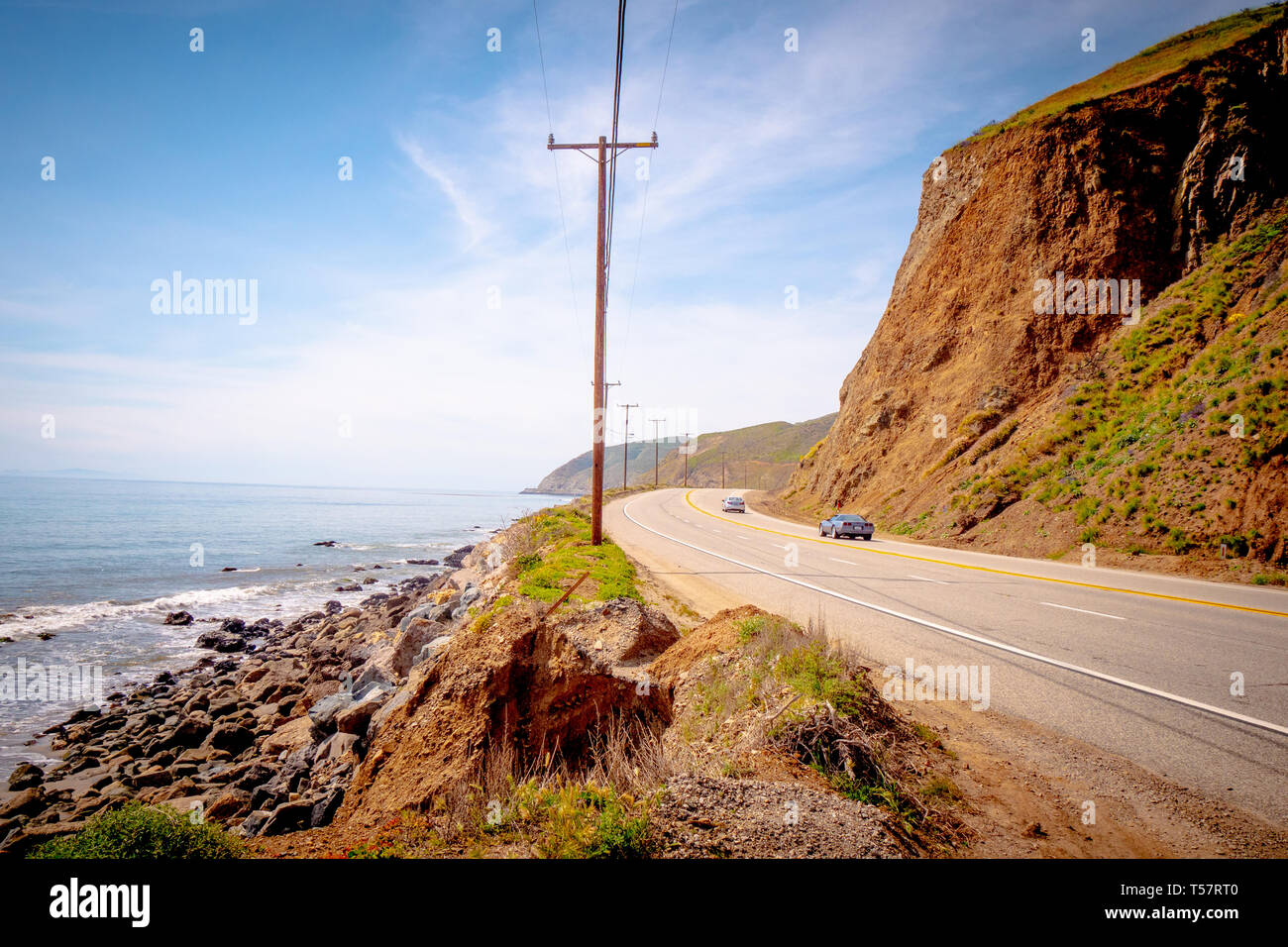 Driving on the PCH Pacific Coast Highway - MALIBU, USA - MARCH 29