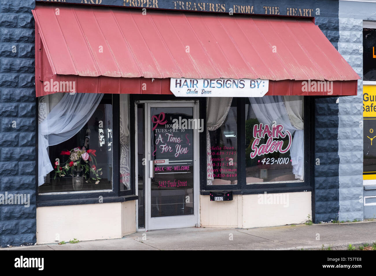 HOPE MILLS, NC - CIRCA April 2019 : Hair Salon, A time for you, hair designs Stock Photo
