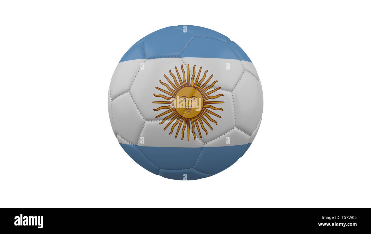 Soccer ball with Argentina flag, isolate on a white background, 3d render. - Stock Image