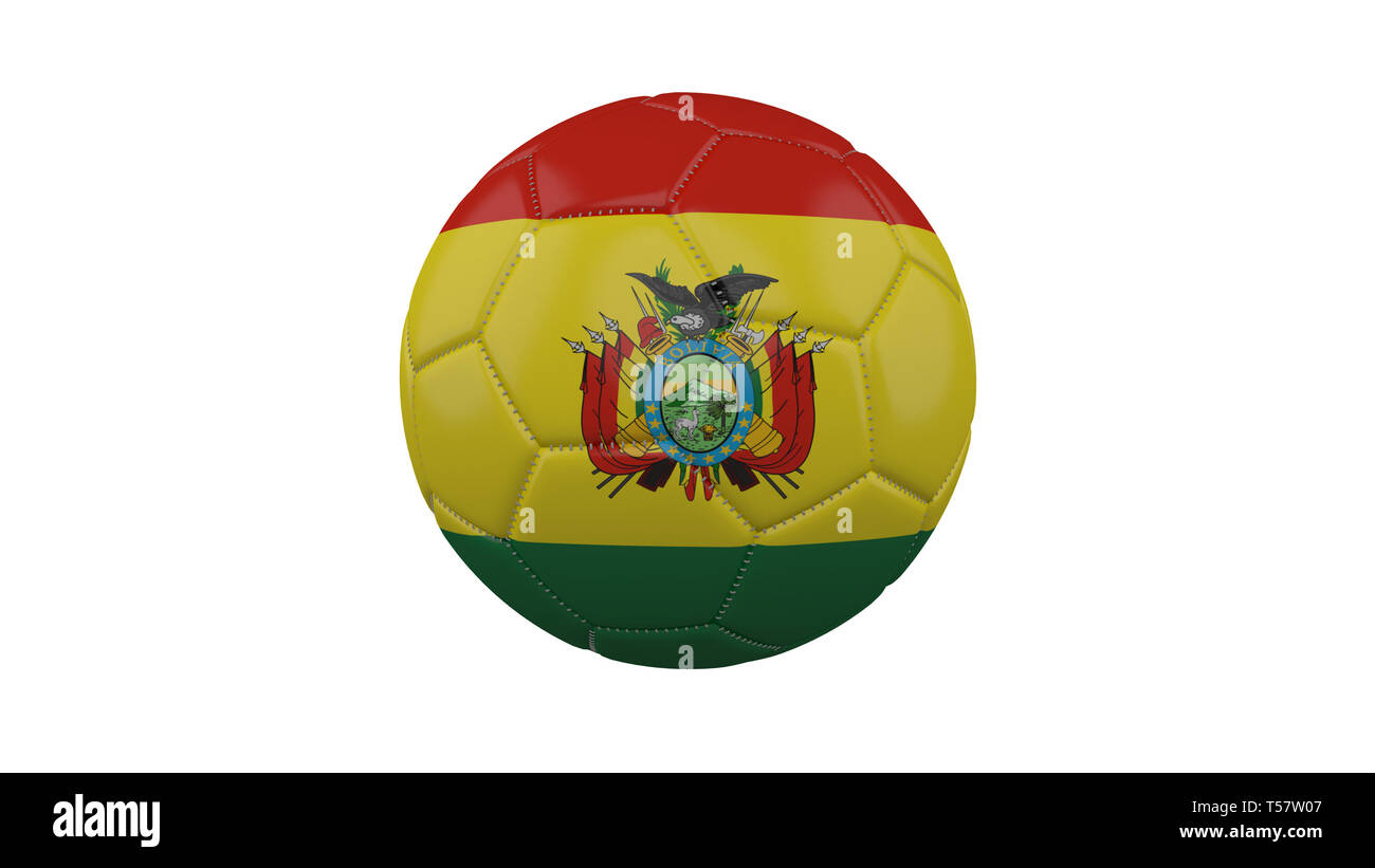 Soccer ball with Bolivia flag, isolate on a white background, 3d render. - Stock Image