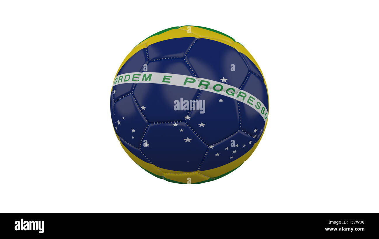 Soccer ball with Brazil flag, isolate on a white background, 3d render. - Stock Image