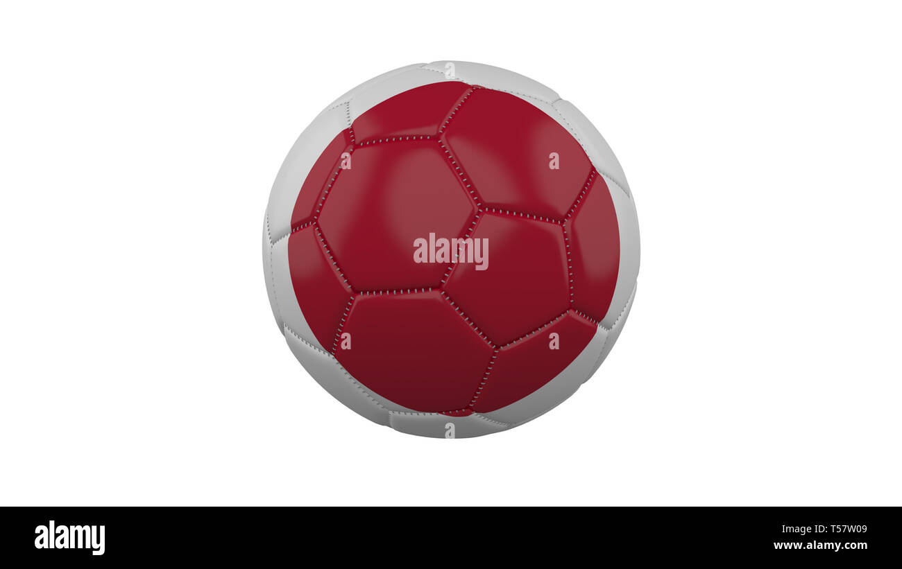 Soccer ball with Japan flag, isolate on a white background, 3d render. - Stock Image
