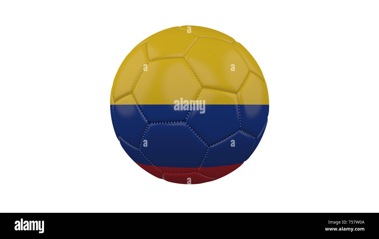 Soccer ball with Colombia flag, isolate on a white background, 3d render. - Stock Image