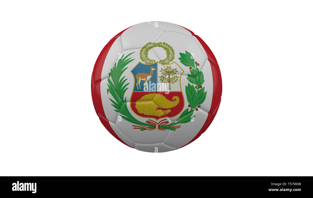 Soccer ball with Peru flag, isolate on a white background, 3d render. - Stock Image