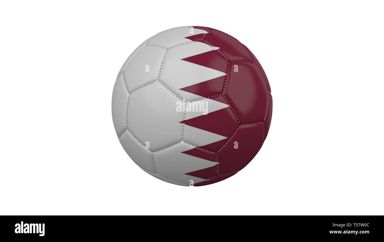 Soccer ball with Qatar flag, isolate on a white background, 3d render. - Stock Image