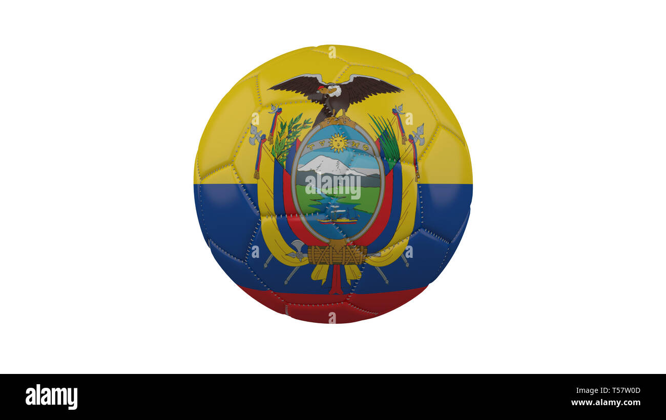 Soccer ball with Ecuador flag, isolate on a white background, 3d render. - Stock Image