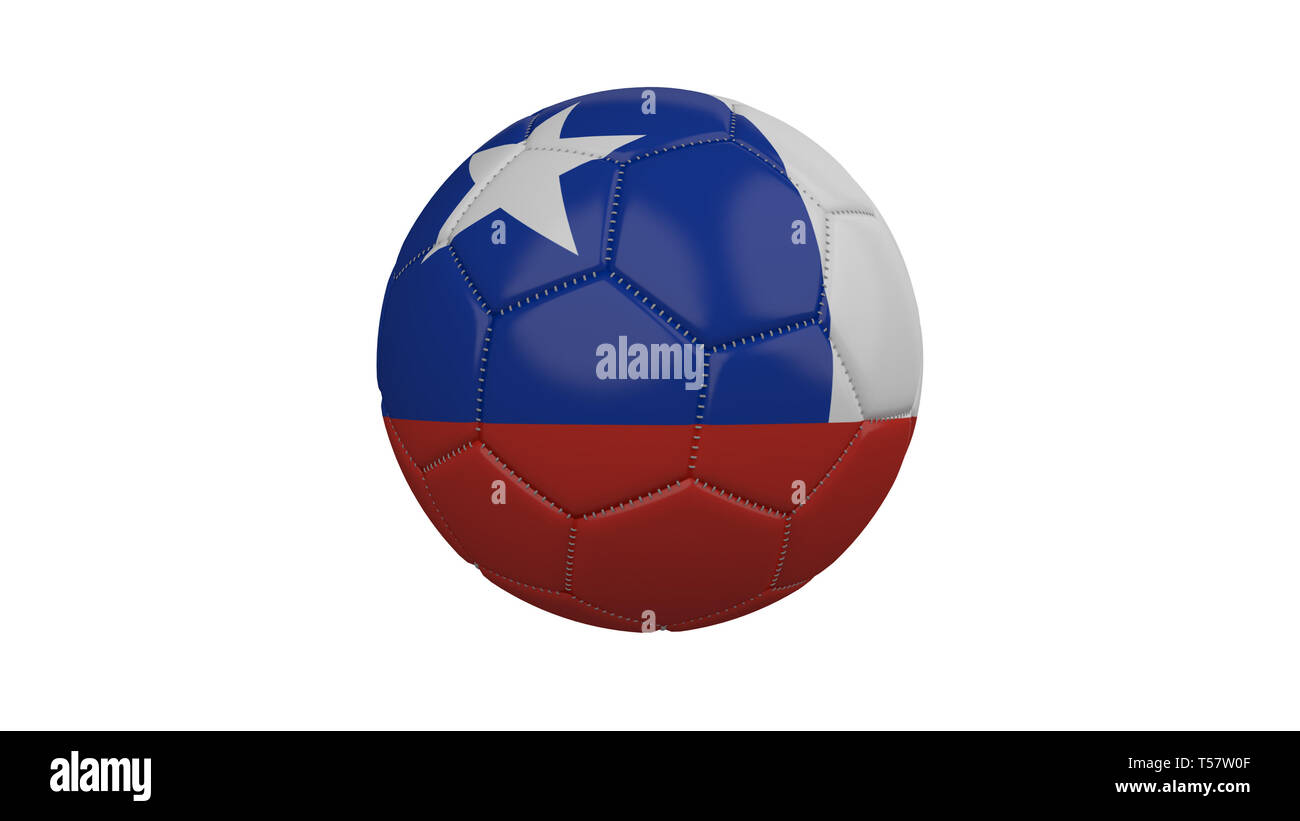 Soccer ball with Chile flag, isolate on a white background, 3d render. - Stock Image