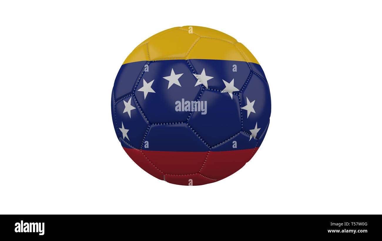 Soccer ball with Venezuela flag, isolate on a white background, 3d render. - Stock Image