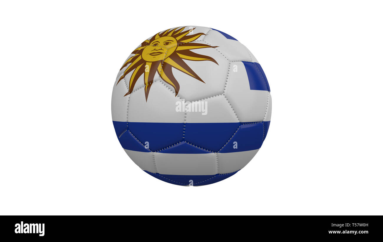 Soccer ball with Uruguay flag, isolate on a white background, 3d render. - Stock Image