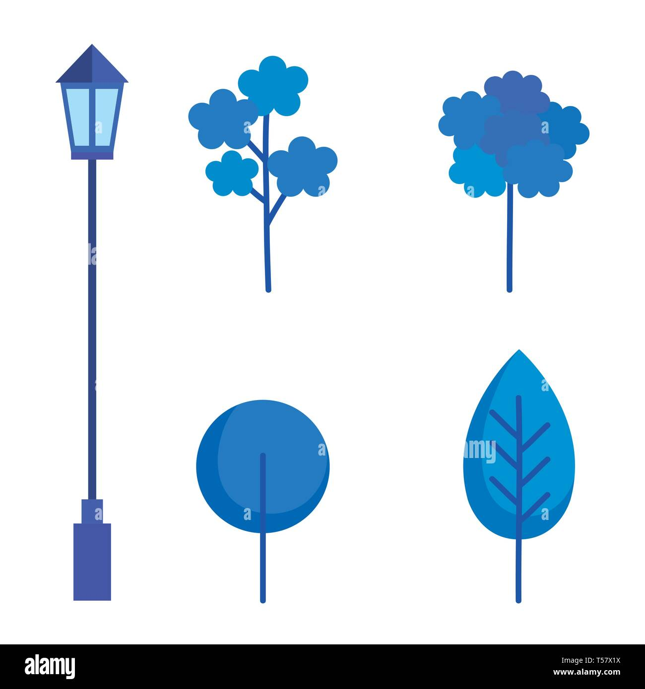 plants and lantern of park Stock Vector