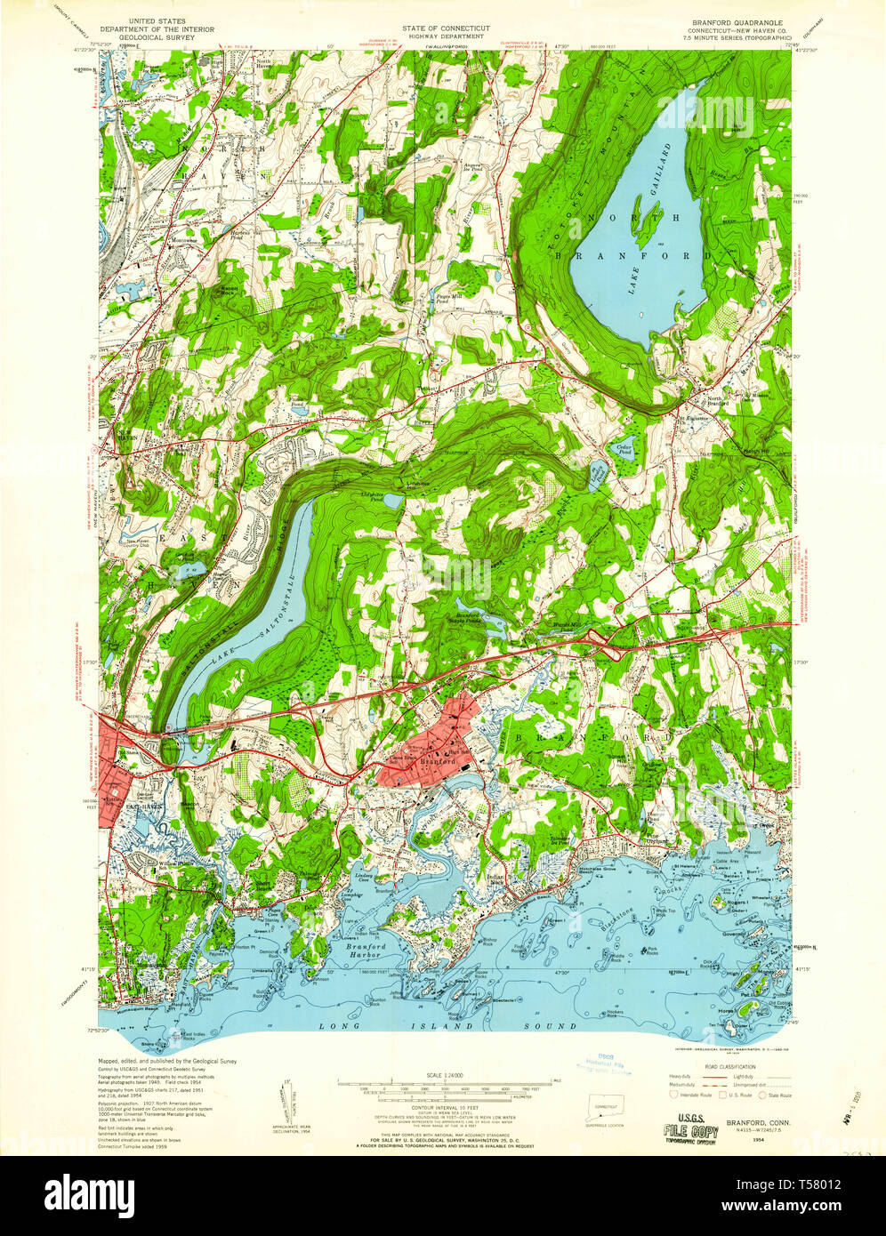 USGS TOPO Map Connecticut CT Branford 330466 1954 24000 ...