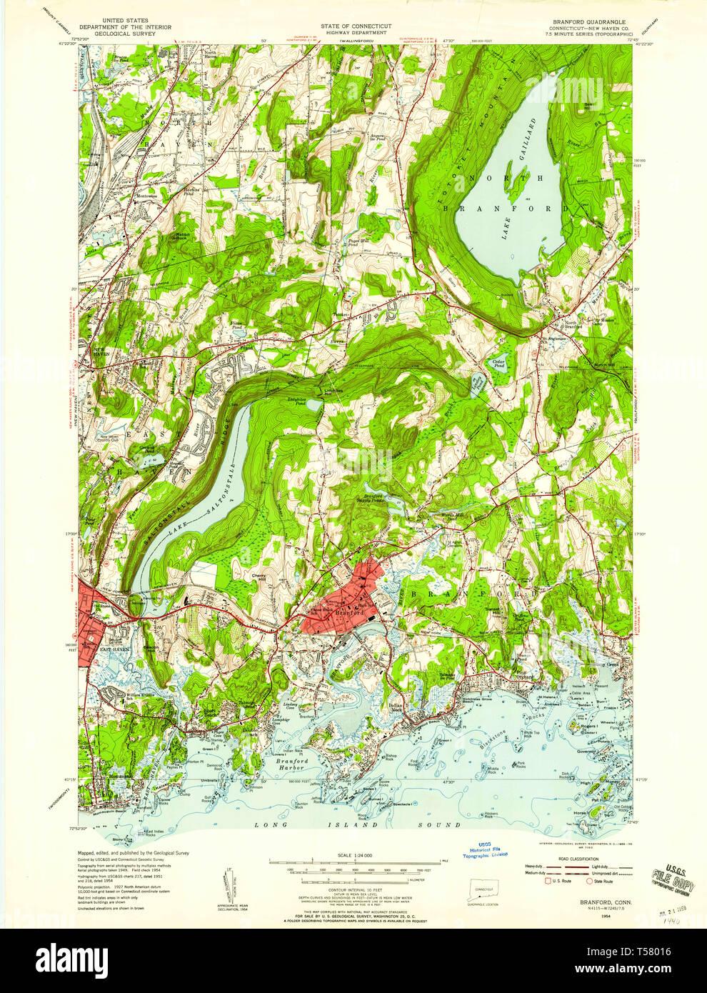 USGS TOPO Map Connecticut CT Branford 330467 1954 24000 ...