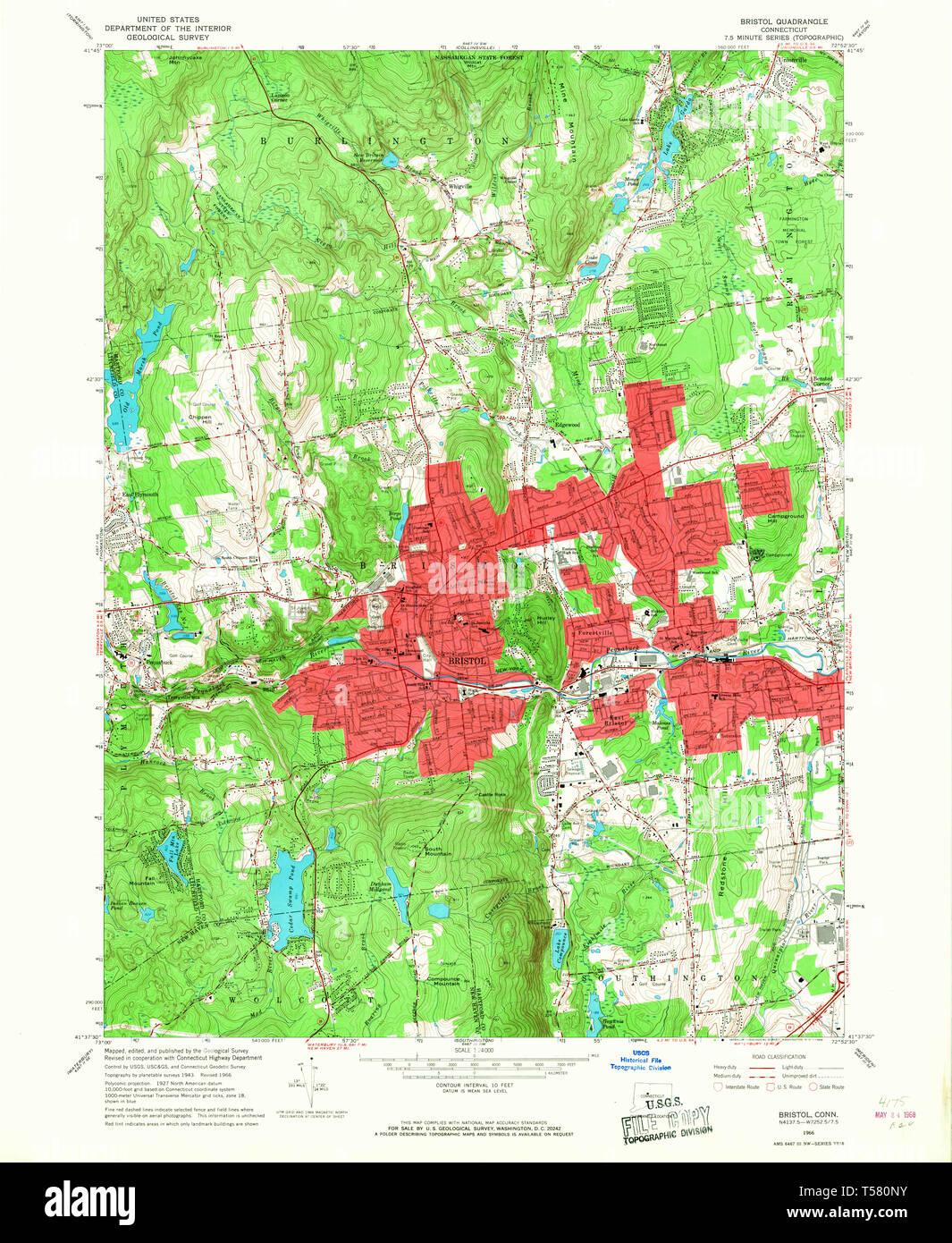 USGS TOPO Map Connecticut CT Bristol 330480 1966 24000 Restoration ...