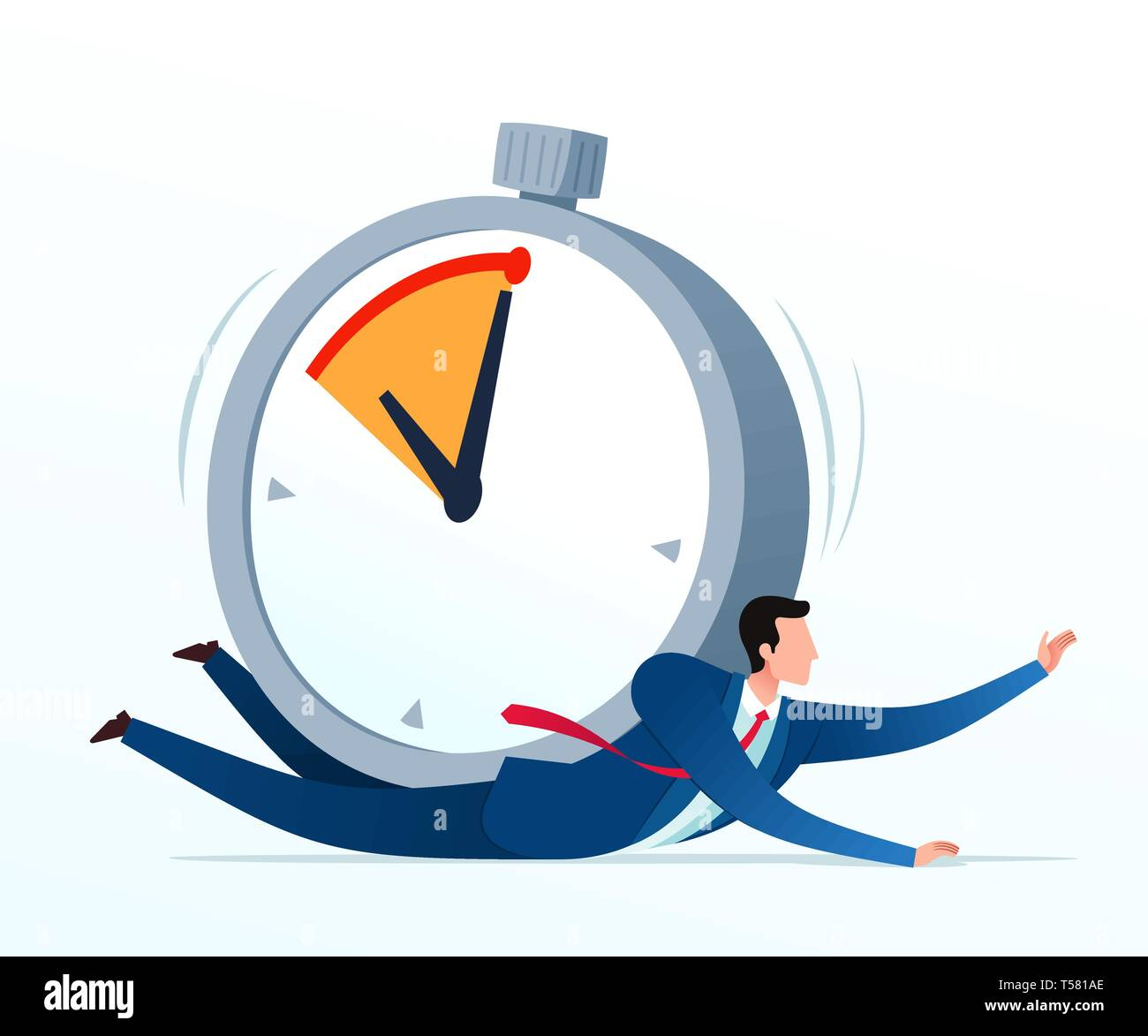 Get panic and stressed because pressed by deadline. Business concept illustration. - Stock Vector