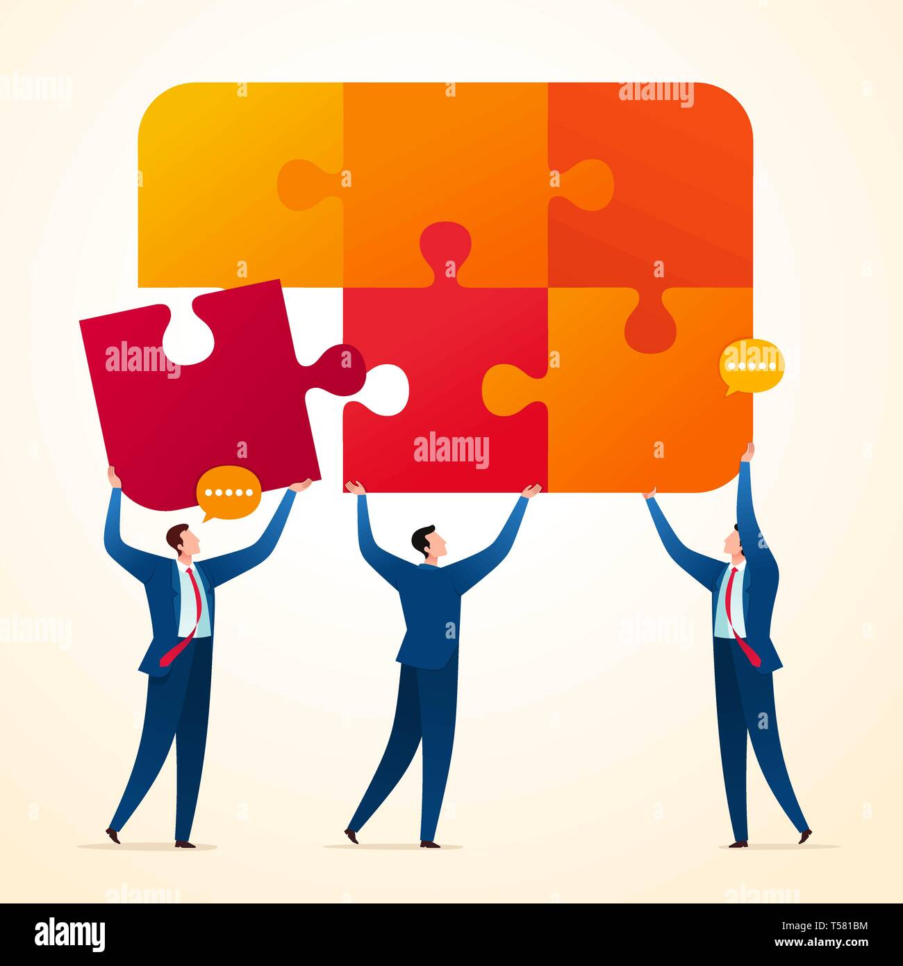 Uniting puzzle piece to get final integrated system. Business teamwork concept illustration. - Stock Vector