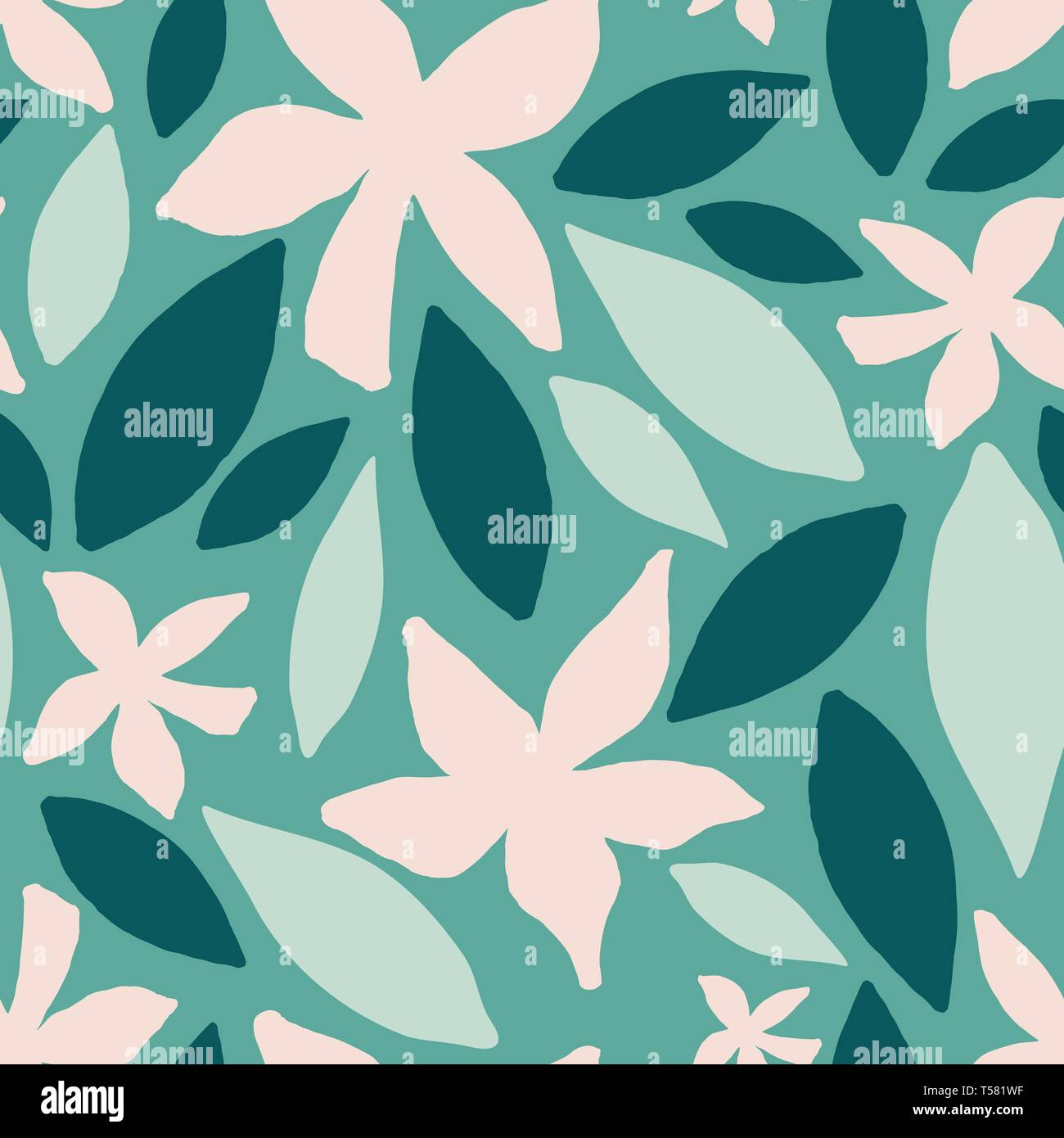 Seamless Repeating Pattern With Abstract Floral And Leaf Shapes In