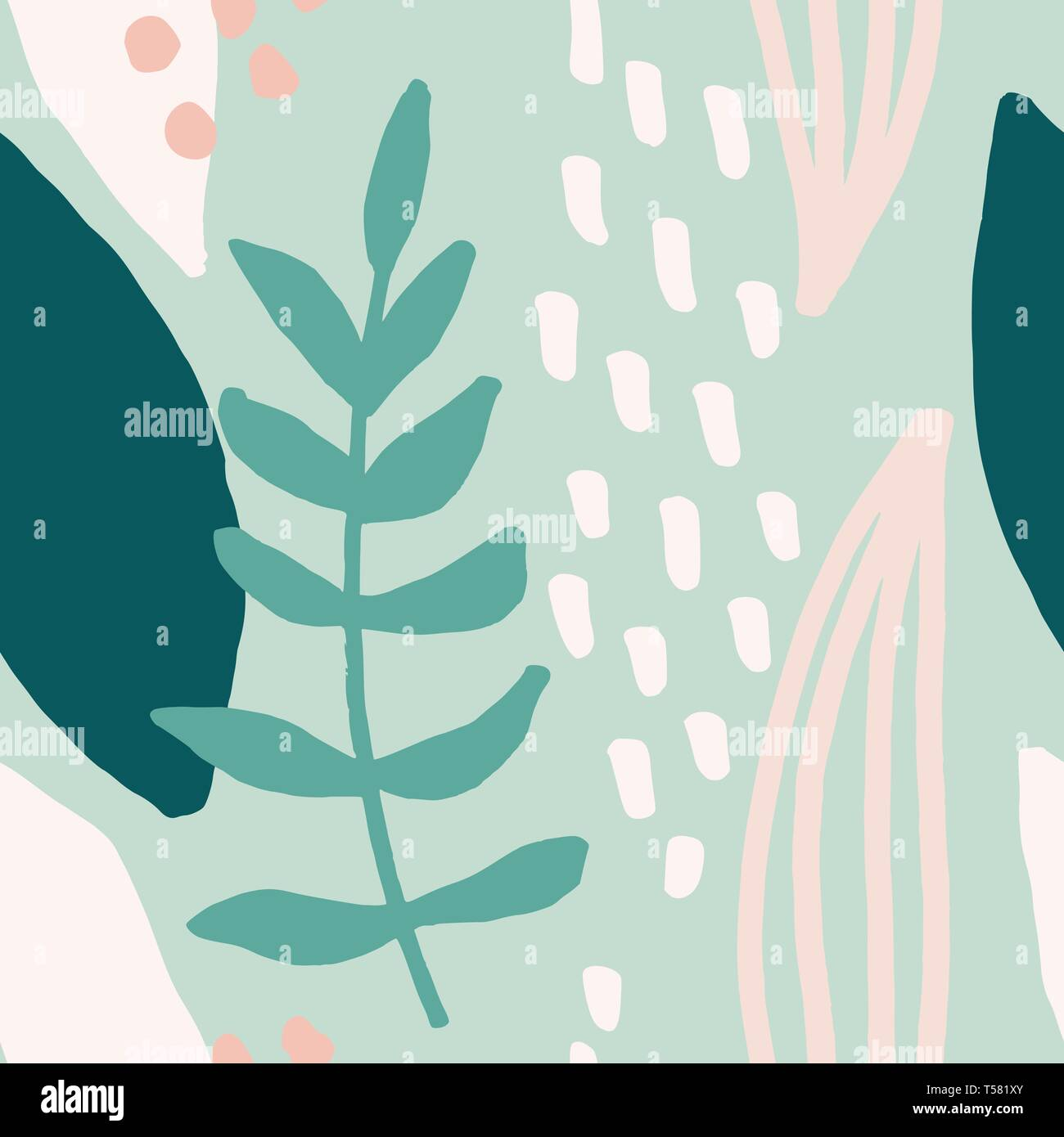Seamless Repeating Pattern With Abstract Leaf Shapes In Mint
