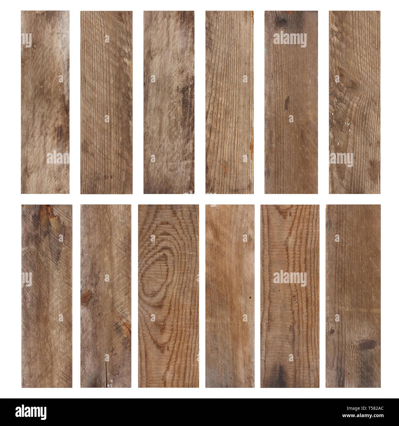 Set of vintage weathered wooden planks isolated on white background - Stock Image