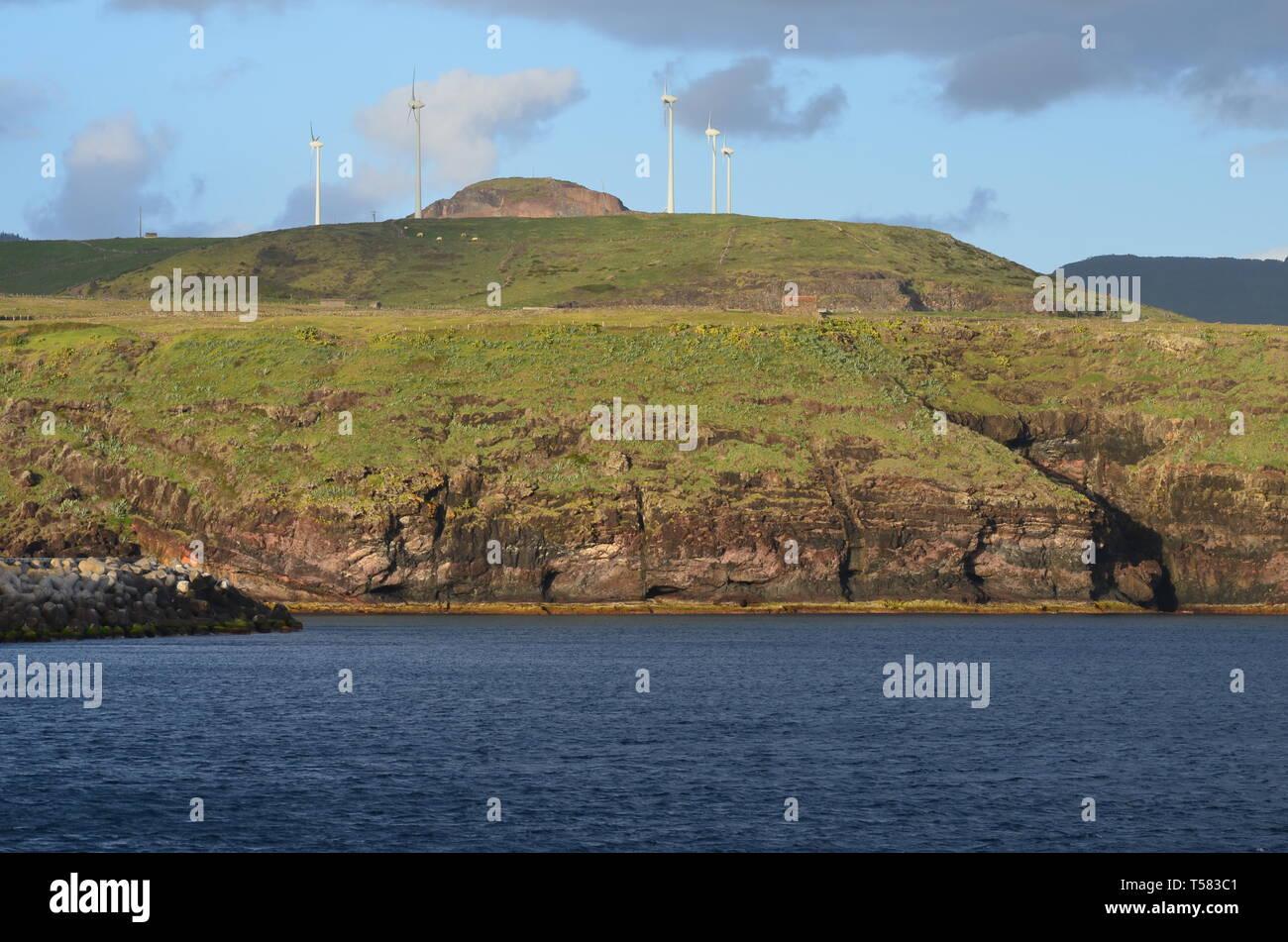 Wind turbines in Santa Maria island, Azores archipelago Stock Photo