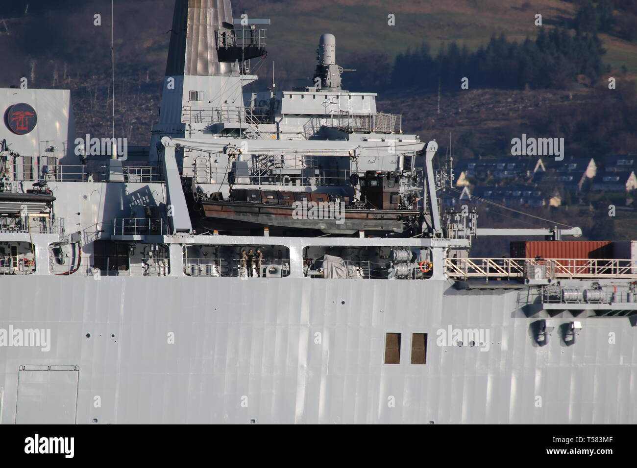 One of four LCVP Mk5 landing craft carried on board HMS Albion (L14), an Albion-class landing platform dock operated by the Royal Navy. Stock Photo