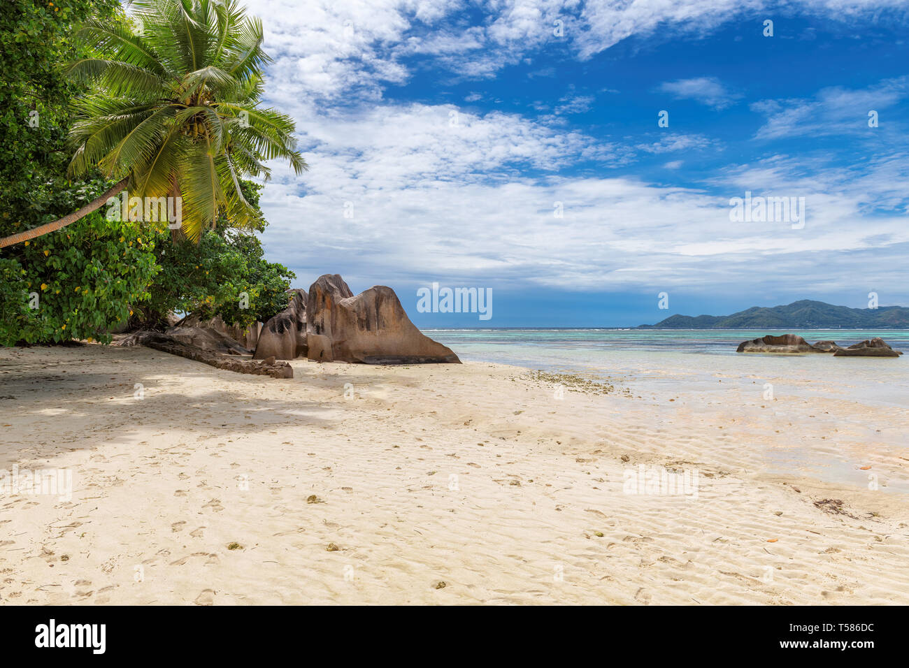 Exotic beach on Seychelles - Stock Image