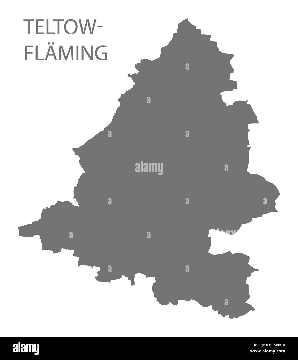 Teltow-Flaeming grey county map of Brandenburg Germany - Stock Image