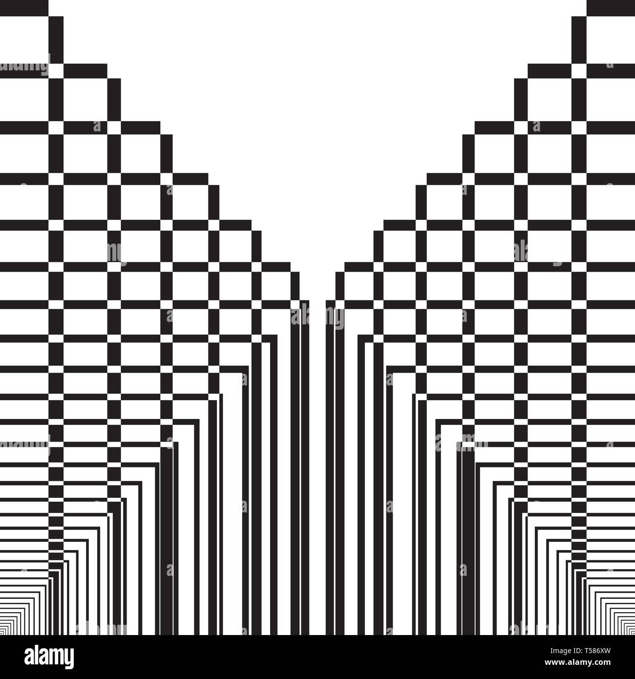 Abstract squarred arcade bridge tridimensional impression  black on transparent background designer graphic - Stock Vector