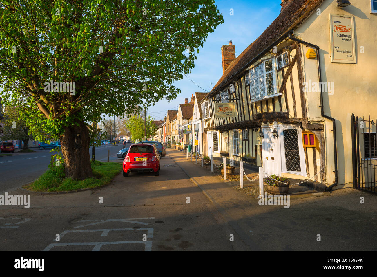 Long Melford Suffolk UK, view of shops and buildings in Hall Street - the main street running through Long Melford village, Suffolk, England, UK - Stock Image