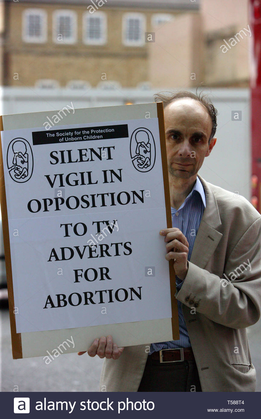 The Society for the Protection of Unborn Children hold a silent vigil in opposition to television adverts for abortion. Holborn, London.  © Justin Ta - Stock Image