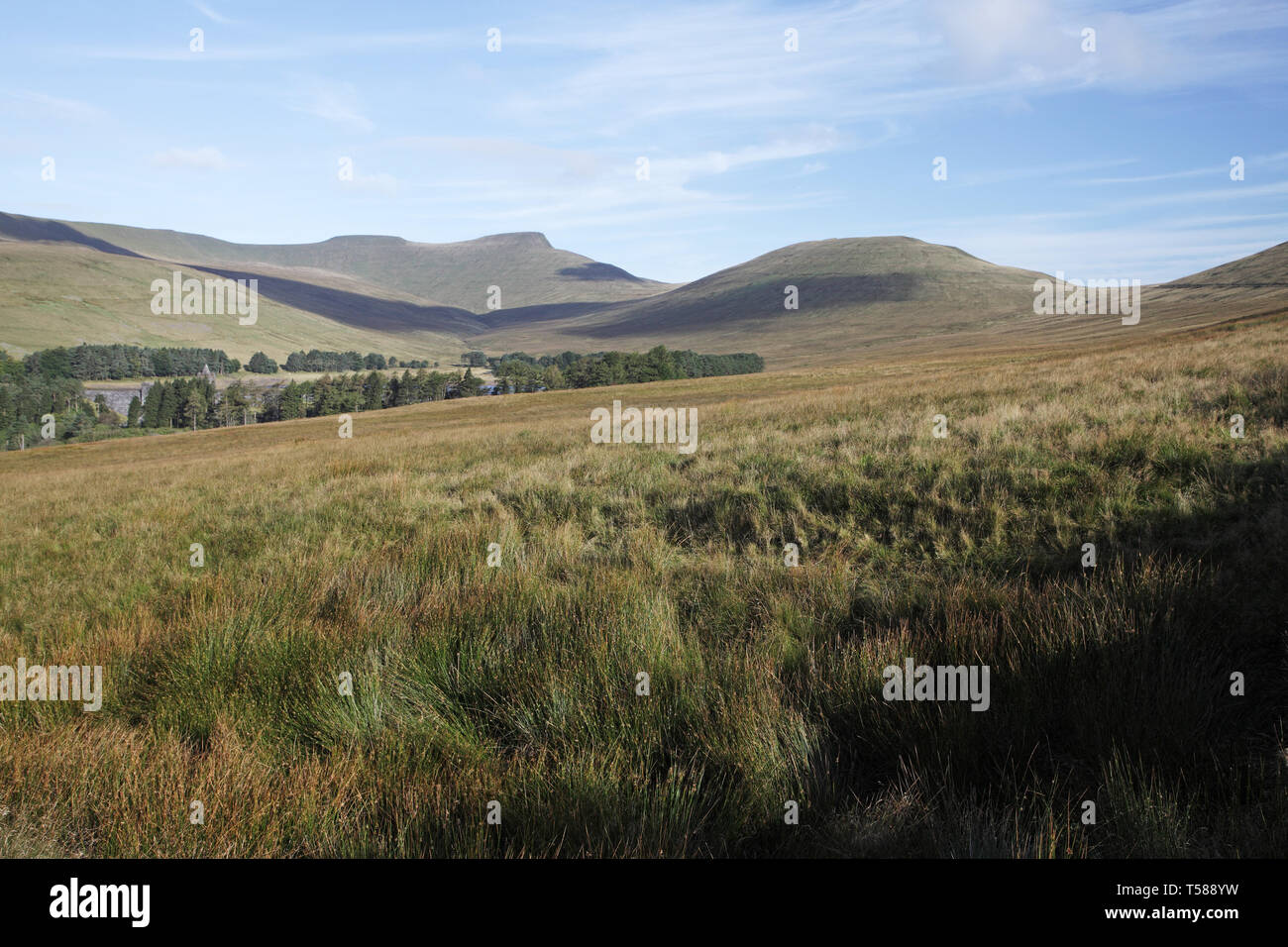 View to Pen-y-fan and Corn Dhu Brecon Beacons National Park Wales UK 2012 - Stock Image