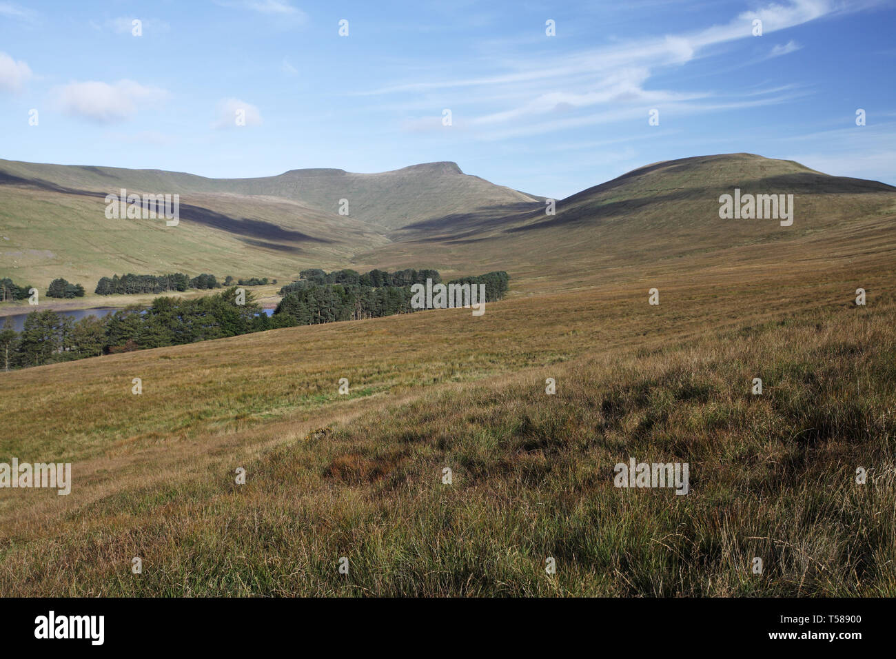 View to Pen-y-fan and Corn Dhu Brecon Beacons National Park Wales UK September 2012 - Stock Image