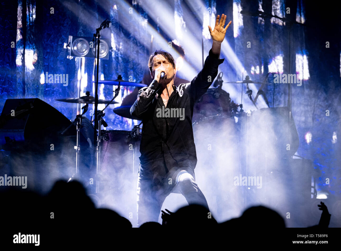 Brett Anderson of Suede performs onstage at the O2 Academy, Newcastle on 15th April 2019, the opening night of their 2019 UK tour. - Stock Image
