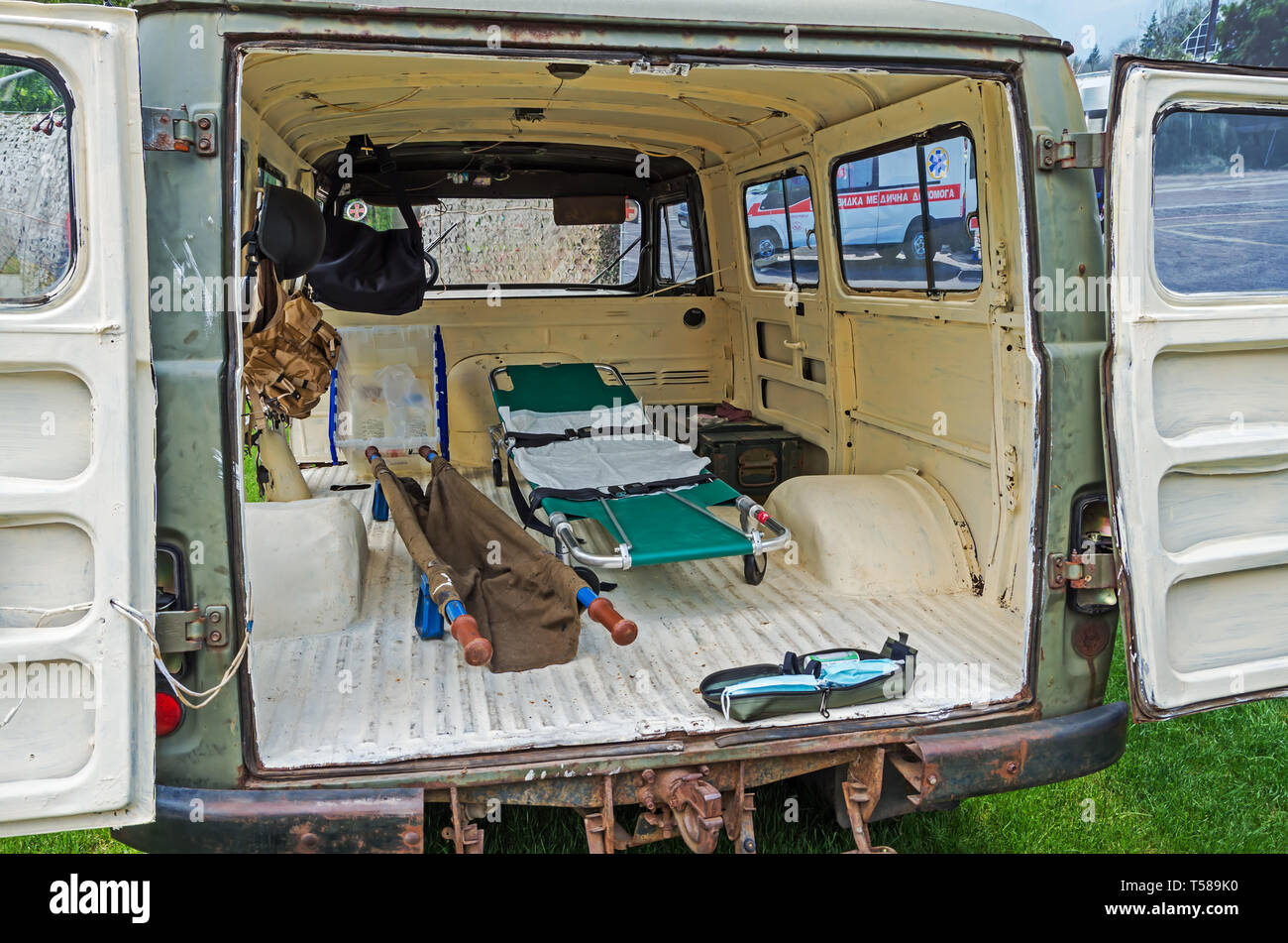 Interior layout ambulance Ukrainian armed forces of the Soviet manufacture which evacuated wounded soldiers at the beginning of Russian occupation - Stock Image