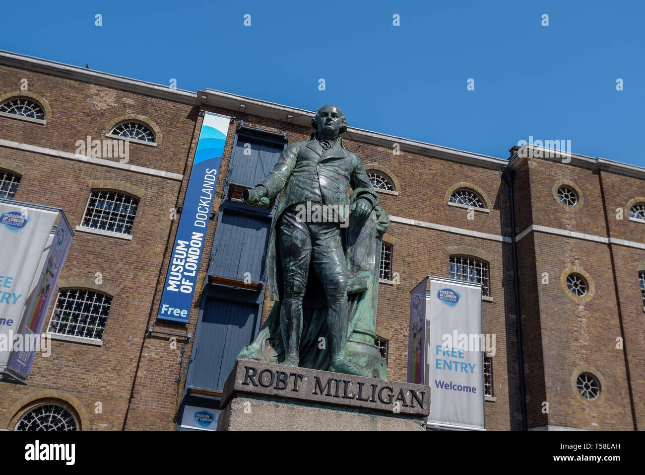 Statue of Robert Milligan, Museum of London, West India Docks at Canary Wharf Isle of Dogs London - Stock Image