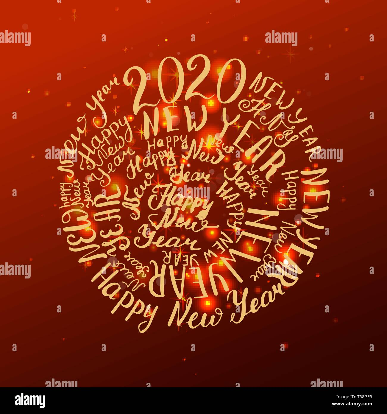 New Words 2020.2020 New Year Handwritten Words Vector Illustration Red