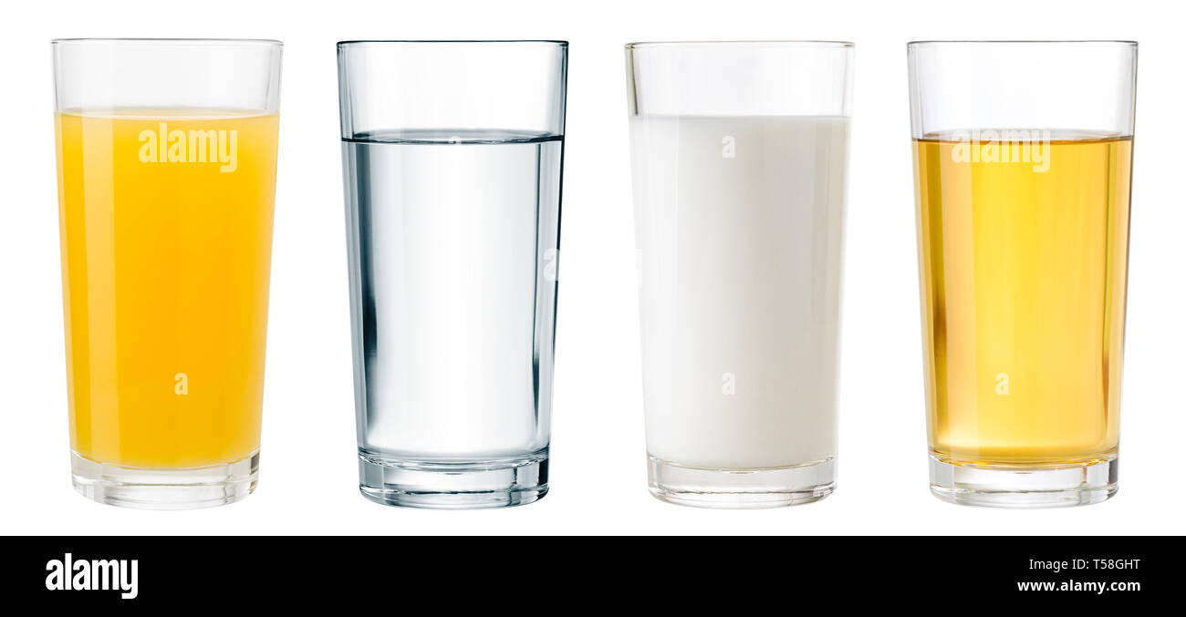 set of water, juice and milk glasses isolated with clipping path included - Stock Image