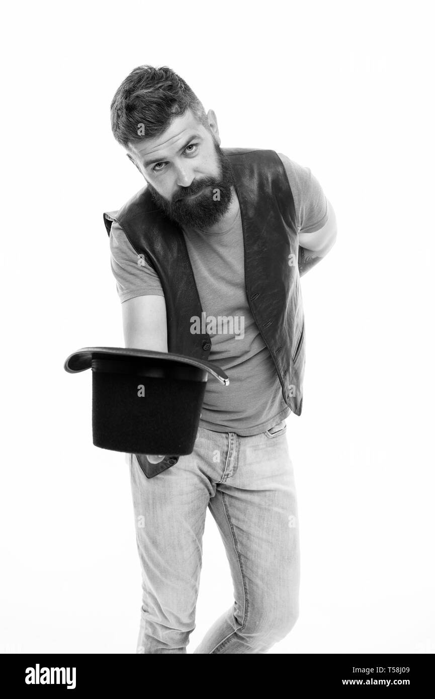 Circus magic trick performance. Illusionist circus worker. Applause great artist. Man bearded strict illusionist. Fun with illusionist. Want some magic trick. Illusionist trick performance concept. - Stock Image