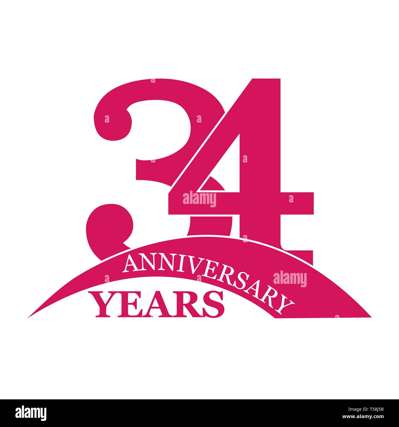 Anniversario Matrimonio 34 Anni.34 Birthday Icon Vector Stock Photos 34 Birthday Icon Vector