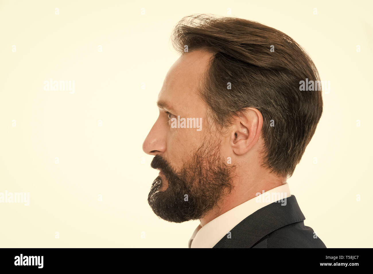 Perfect Style Business Man Well Groomed Mature Guy Side View White Background Business People Hairstyle Businessman Hair And Groomed Beard Beard Makes Your Appearance More Stylish And Modern Stock Photo Alamy