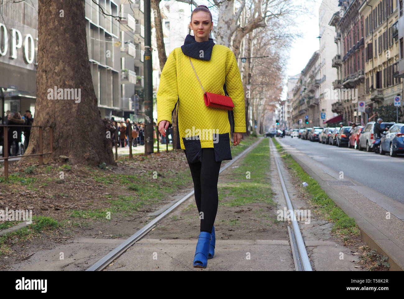 MILAN, Italy: 24 February 2019: Fashion Blogger street style outfit after Dolce & Gabbana fashion show during Milan fashion week Fall/winter 2019/2020 - Stock Image