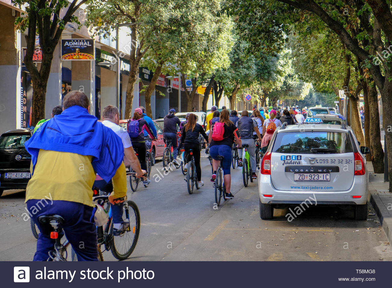 Departure of the annual Easter Monday bicycle tour  from Zadar to Vir,  Zadar Croatia Stock Photo