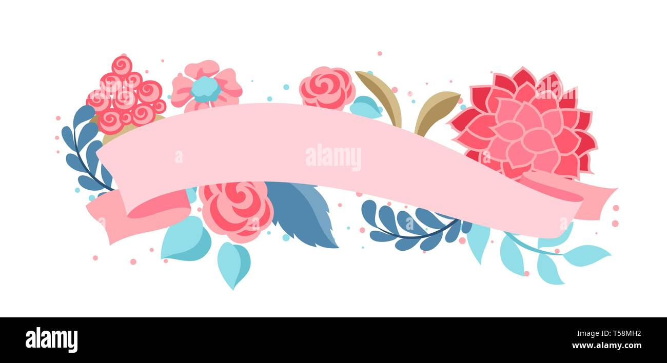Decorative element with gentle flowers. - Stock Vector
