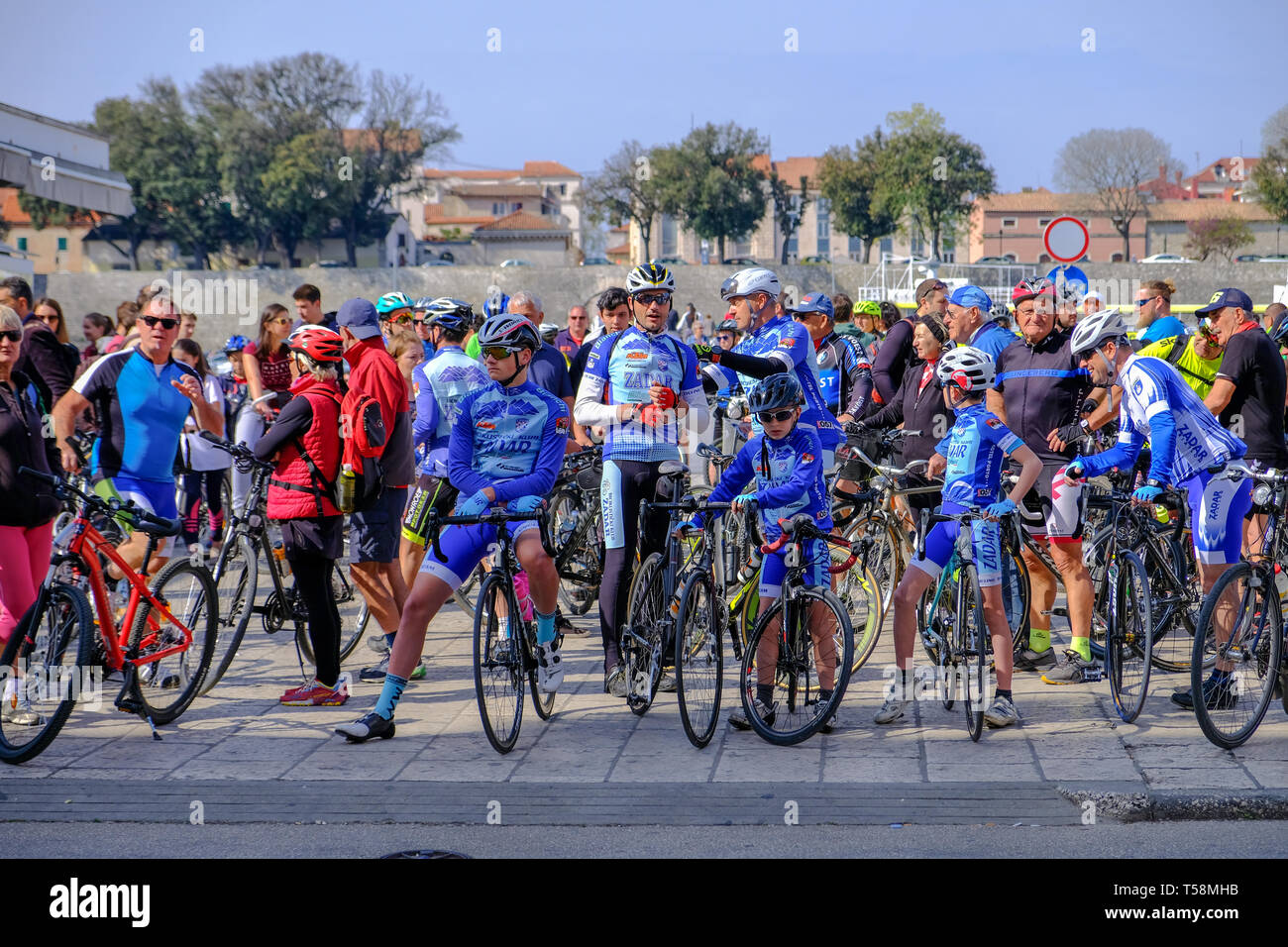 Departure of the annual Easter Monday bicycletour from Zadarto Vir, Zadar Croatia Stock Photo